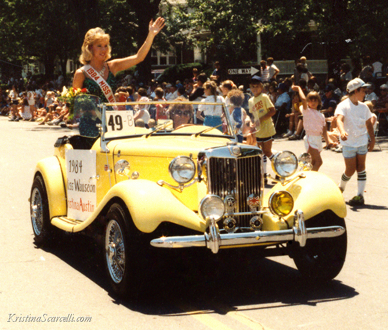 1984 Queen Miss Wauseon in 1985 Homecoming Parade