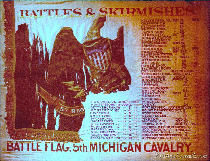 The 5th Michigan Cavalry regimental flag photographed during a trip with my parents to the Detroit Historical Museum in April of 1979.