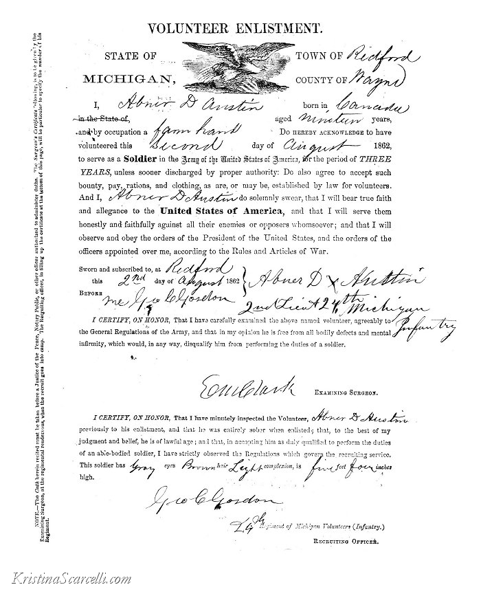 Abner Delos Austin Civil War Army Enlistment