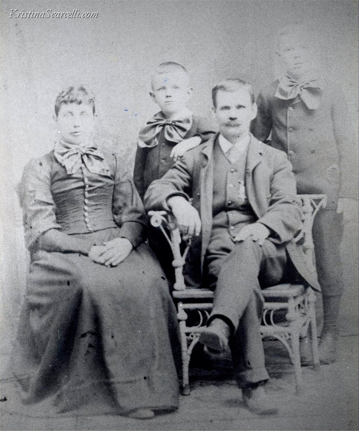 My Great Great Grandfather Abner Delos Austin pictured with his family sometime between 1889 and 1897. You can clearly see the Gettysburg battle wound to Abner's left hand. Abner is seen wearing a Grand Army of the Republic medal, as he was active as a member of the Marshall M. Beach Post No. 267 of the Grand Army of the Republic located in Farmington, Michigan from 1889 through 1899. Left to right: my Great Great Grandmother Mary Elizabeth Turner Austin (1854-1913), Harry Delos Austin (1884-1955), my Great Great Grandfather Abner Delos Austin (1846-1901), and my Great Grandfather Perry James Austin (1882-1944). Note: third son Irving Leroy Austin (1897-1954) was not yet born at the time of this photo.