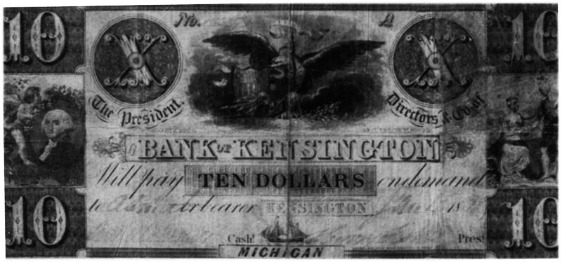 Bank of Kensington Michigan 10 Dollar Bill