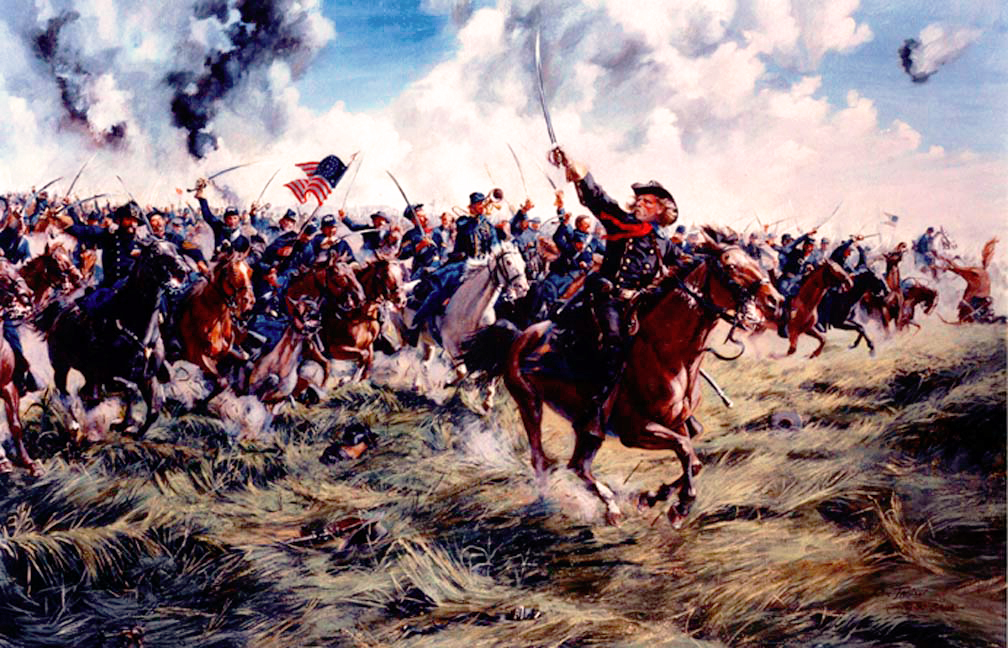 """Come On You Wolverines"" by Don Troiani, depicting George Armstrong Custer leading the charge of his Michigan Cavalry Brigade. (Used with permission.)"