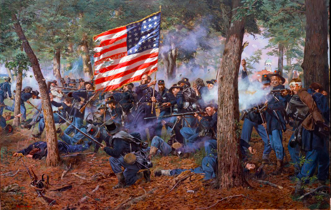 """Iron Brigade"" by Don Troiani, depicting the 24th Michigan Volunteer Infantry in action in McPherson's Woods at Gettysburg. (Used with permission.)"
