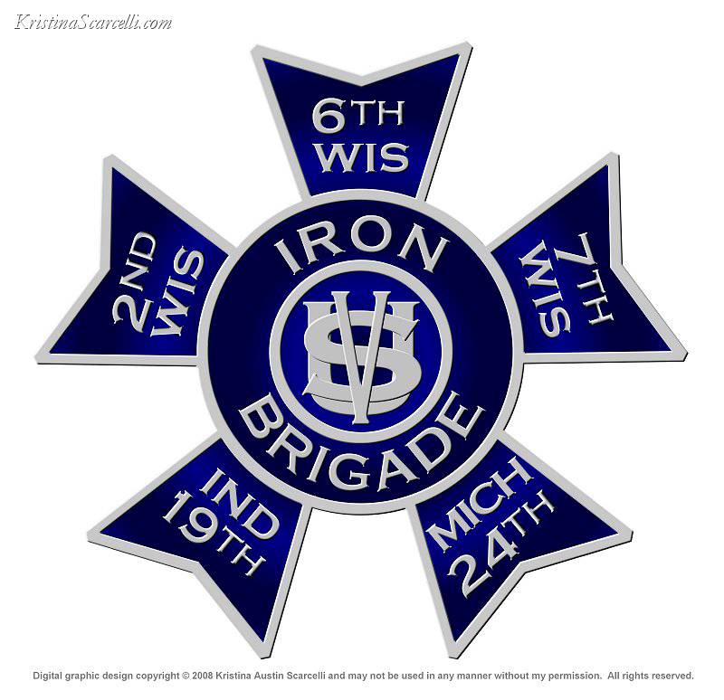 Iron Brigade Insignia Logo.  Digital graphic design copyright © 2008 Kristina Austin Scarcelli and may not be used in any manner without my permission. All rights reserved.