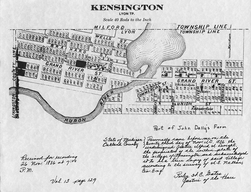 Kensington Michigan Plat Map 1836