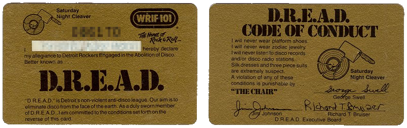 WRIF DREAD Detroit Rockers Engaged in the Abolition of Disco Card